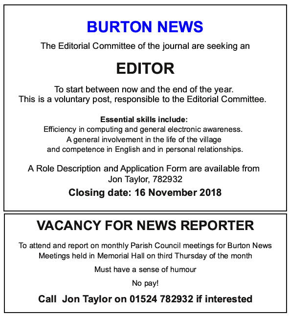 Advert for new editor and council observer / reporter